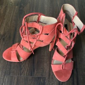 Strapped orange pink suede heels